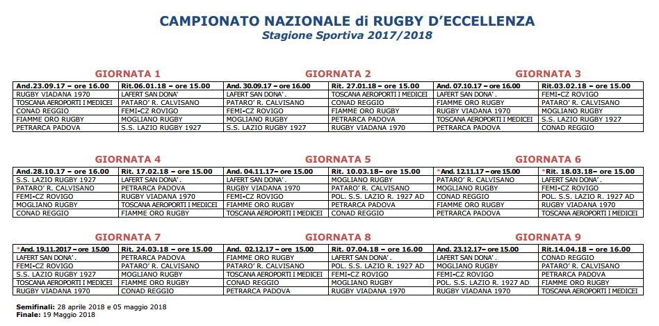 Calendario Eccellenza Rugby.Calendario Eccellenza 2017 18 Boccaccio Rugby News