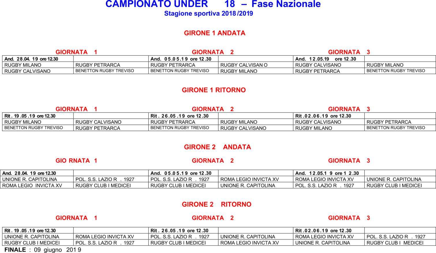 Calendario Eccellenza Rugby.Under 18 Il Calendario Della Fase Nazionale Boccaccio